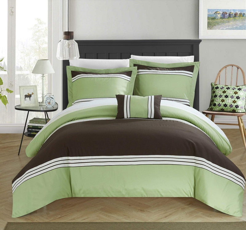 Chic Home Madison 4 Piece Duvet Cover Set Patchwork Hotel Collection Embroidered Bedding-Green