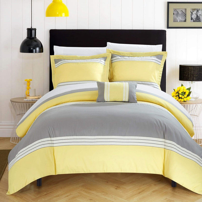 Chic Home Madison 4 Piece Duvet Cover Set Patchwork Hotel Collection Embroidered Bedding-Yellow