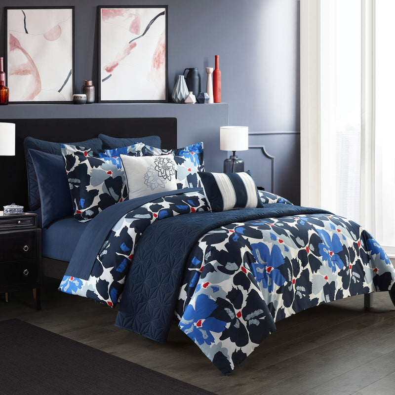 Chic Home Malea 12 Piece Comforter and Quilt Set Paisley Print Pattern Bed In A Bag Blue