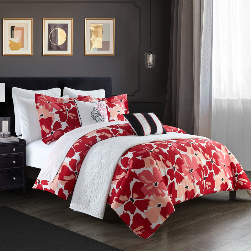 Chic Home Malea 12 Piece Comforter and Quilt Set Paisley Print Pattern Bed In A Bag Pink