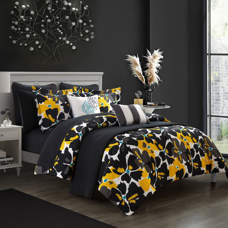 Chic Home Malea 12 Piece Comforter and Quilt Set Paisley Print Pattern Bed In A Bag Black