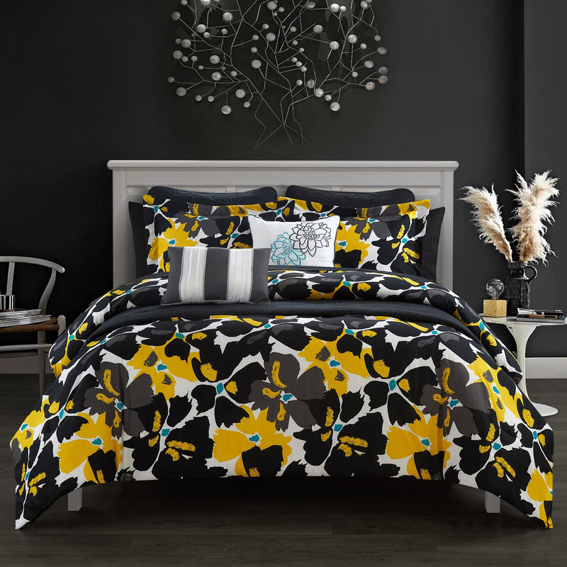Chic Home Malea Halia Kali Lia Kalila Cynara 12 Piece Comforter and Quilt Set Paisley Print Pattern Bed In A Bag Black