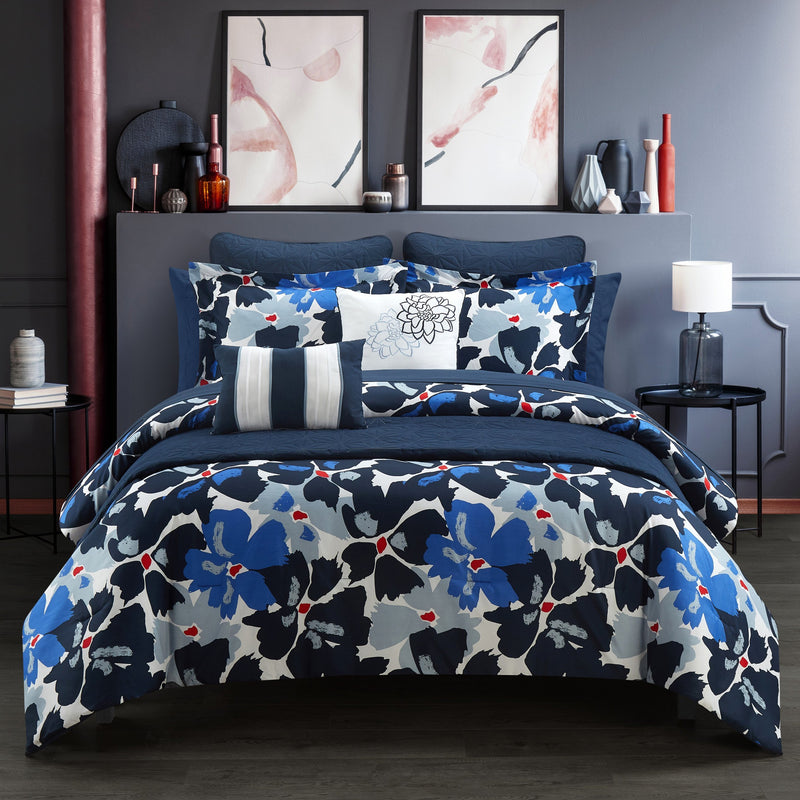 Chic Home Malea Halia Kali Lia Kalila Cynara 12 Piece Comforter and Quilt Set Paisley Print Pattern Bed In A Bag Blue