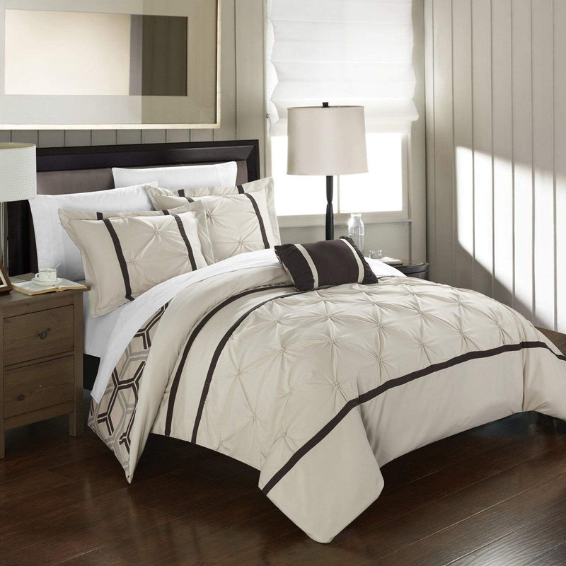 Chic Home Marcia 4 Piece Reversible Comforter Set Pinch Pleat Geometric Pattern Bedding-Beige