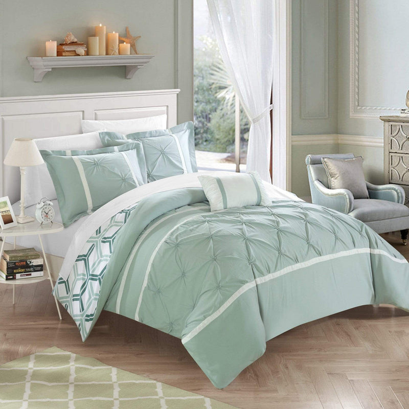 Chic Home Marcia 4 Piece Reversible Comforter Set Pinch Pleat Geometric Pattern Bedding-Green