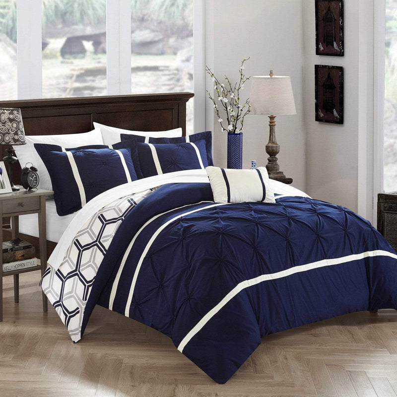 Chic Home Marcia 4 Piece Reversible Comforter Set Pinch Pleat Geometric Pattern Bedding-Navy