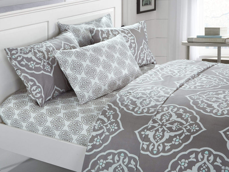 Chic Home Marquis 6 Piece Sheet and Pillowscase Set Two Tone Medallion Print Grey-SS3247-CHB