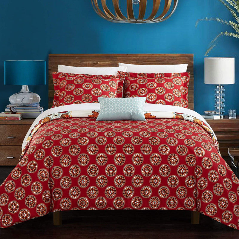 Chic Home Maxim 8 Piece Duvet Cover Set Reversible Boho Paisley Geometric Pattern Bed in a Bag Red