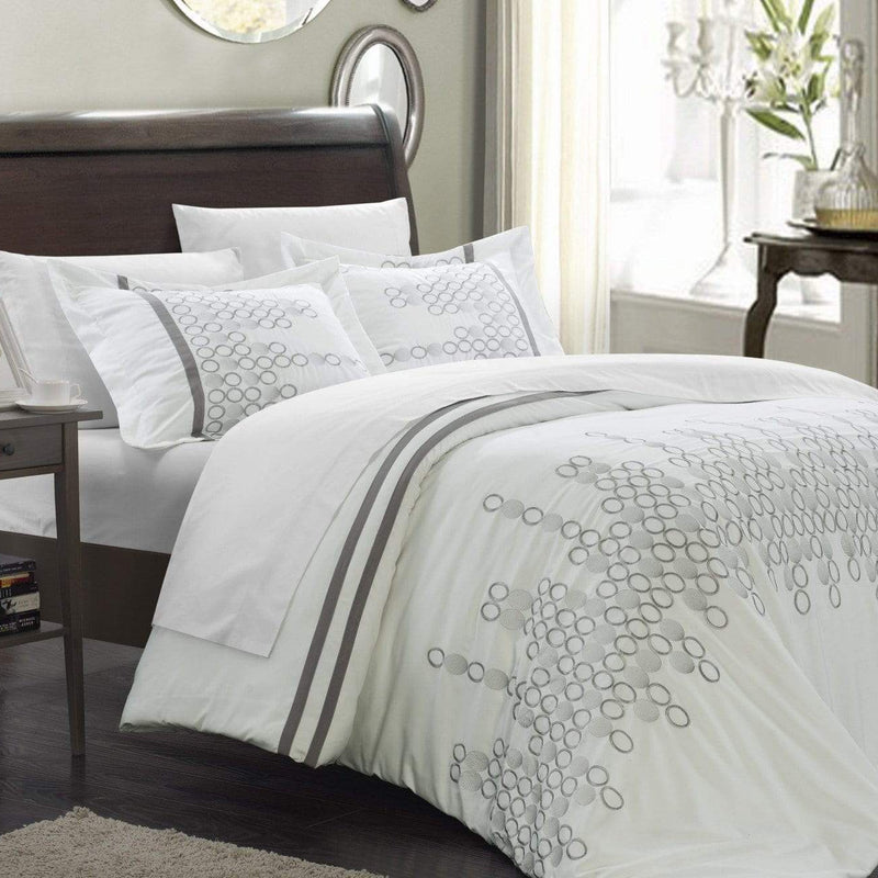 Chic Home Michael 7 Piece Duvet Cover Set Embroidered Geometric Design Bed in a Bag-