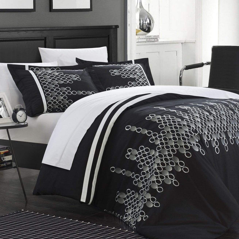 Chic Home Michael 7 Piece Duvet Cover Set Embroidered Geometric Design Bed in a Bag-Black
