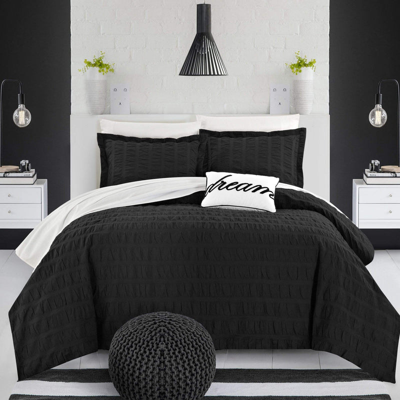 Chic Home Millbury 4 Piece Duvet Cover Set 100% Cotton Ruched Striped Bedding-