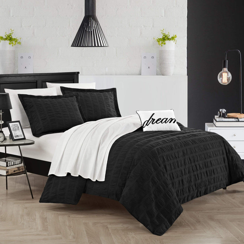 Chic Home Millbury 4 Piece Duvet Cover Set 100% Cotton Ruched Striped Bedding-Black
