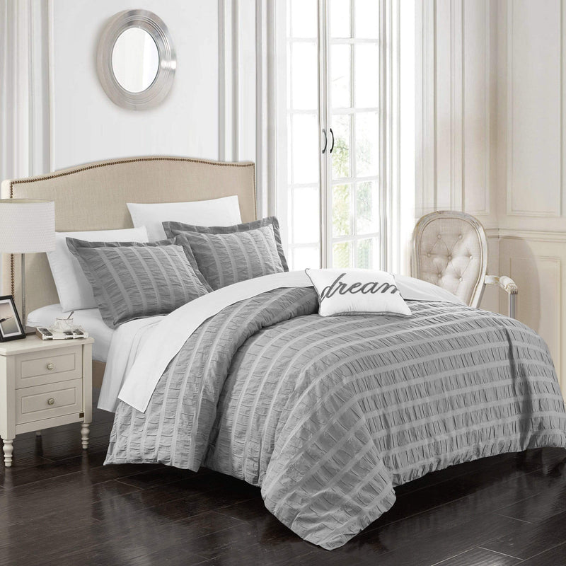 Chic Home Millbury 4 Piece Duvet Cover Set 100% Cotton Ruched Striped Bedding-Grey