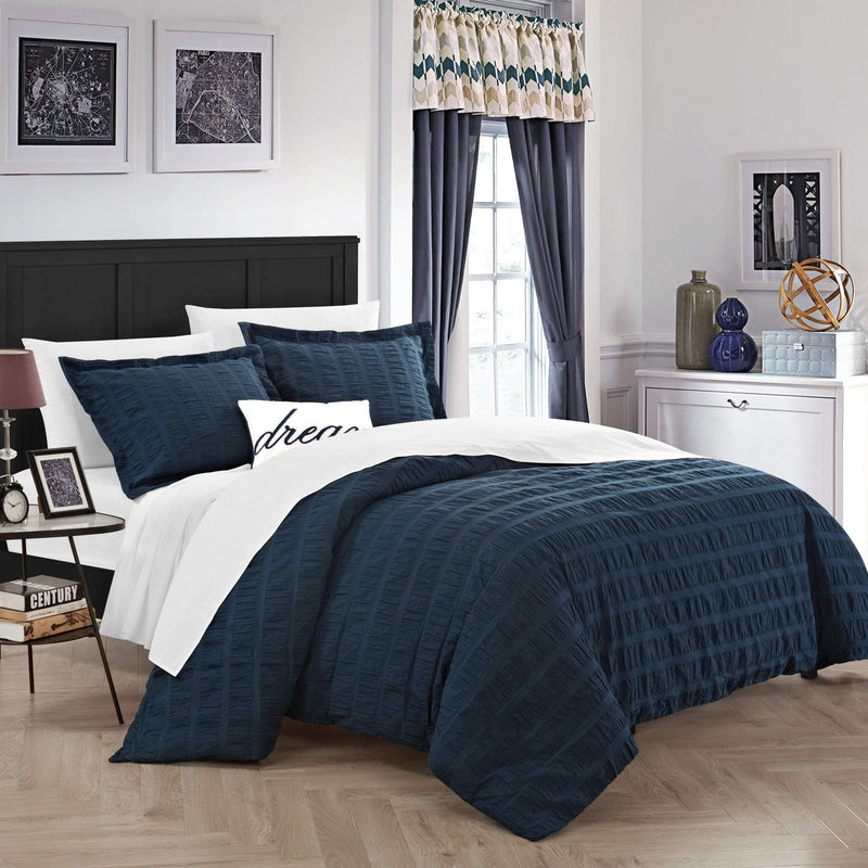 Chic Home Millbury 4 Piece Duvet Cover Set 100% Cotton Ruched Striped Bedding-Navy