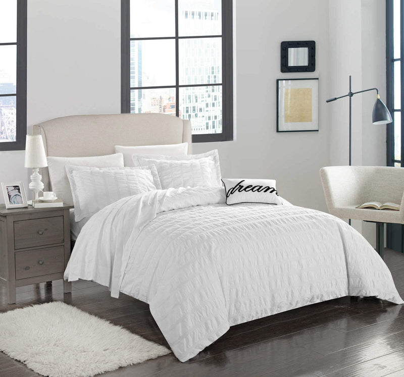 Chic Home Millbury 4 Piece Duvet Cover Set 100% Cotton Ruched Striped Bedding-White