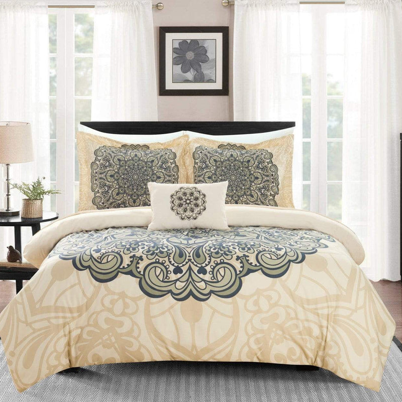 Chic Home Mindy 4 Piece Reversible Duvet Cover Set Boho Inspired Medallion Print Bedding-Beige