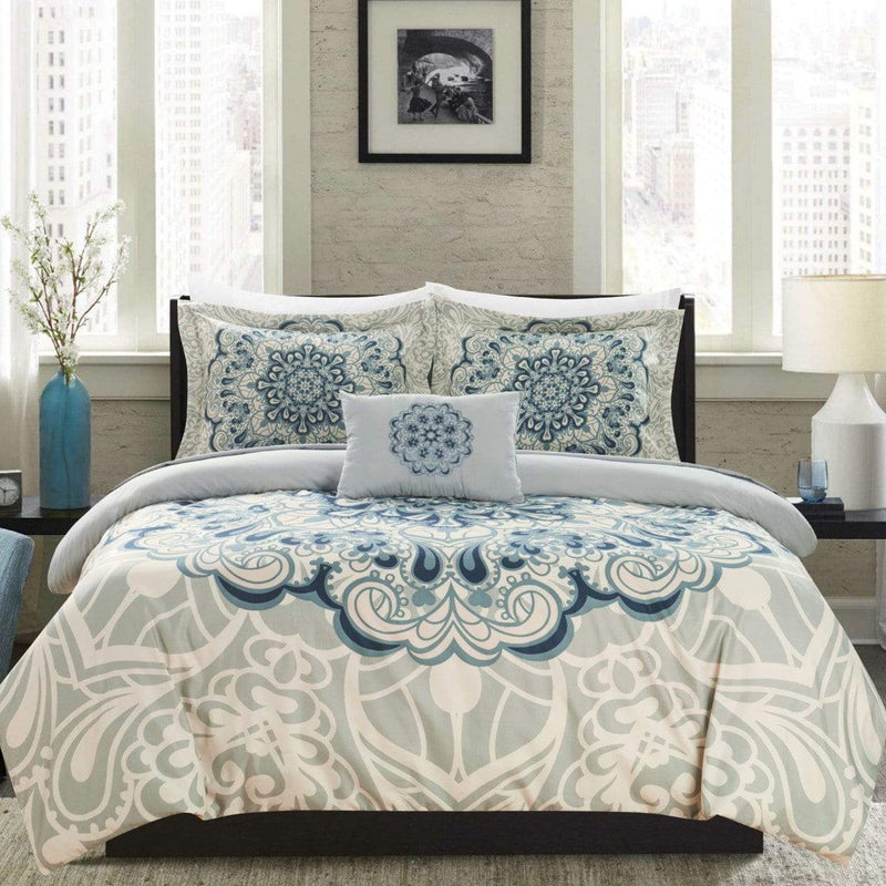 Chic Home Mindy 4 Piece Reversible Duvet Cover Set Boho Inspired Medallion Print Bedding-Blue