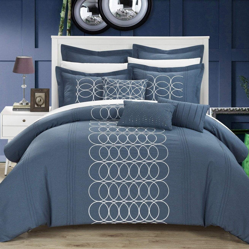 Chic Home Moderna 8 Piece Comforter Set Faux Linen Pleated Geometric Embroidered Bedding-