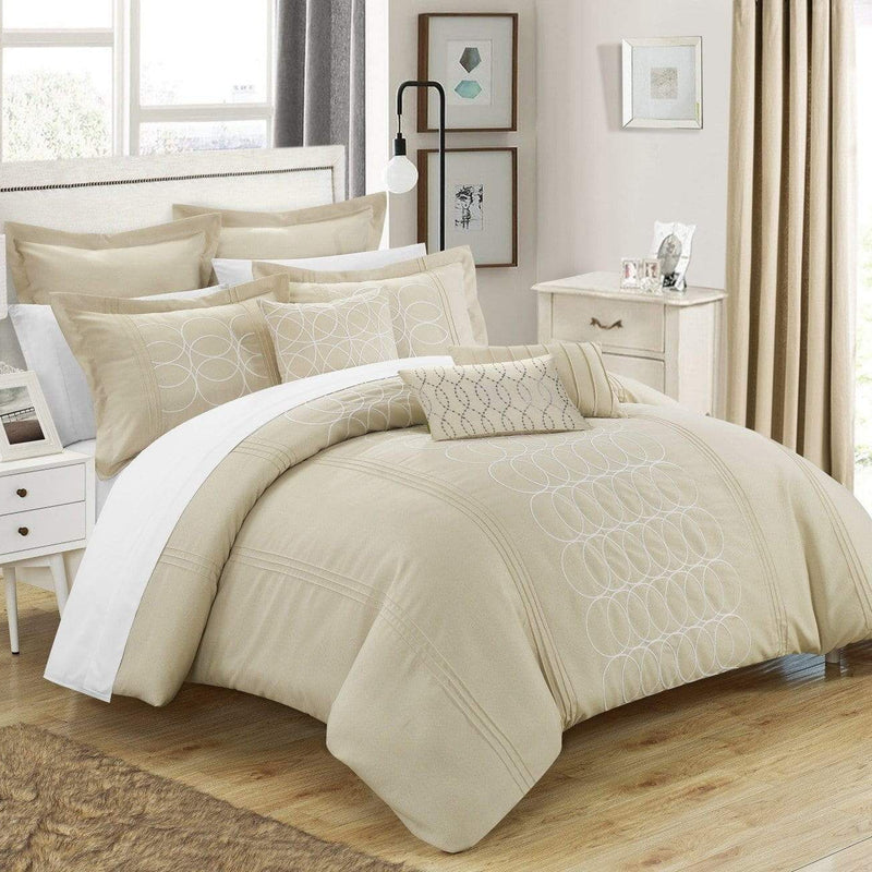 Chic Home Moderna 8 Piece Comforter Set Faux Linen Pleated Geometric Embroidered Bedding-Beige