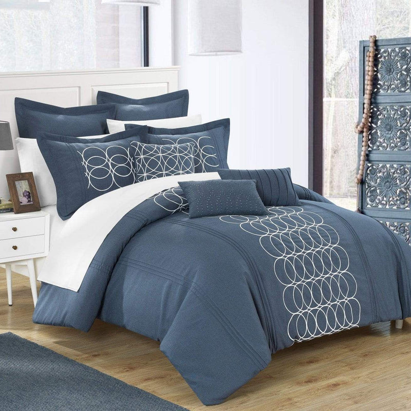 Chic Home Moderna 8 Piece Comforter Set Faux Linen Pleated Geometric Embroidered Bedding-Blue