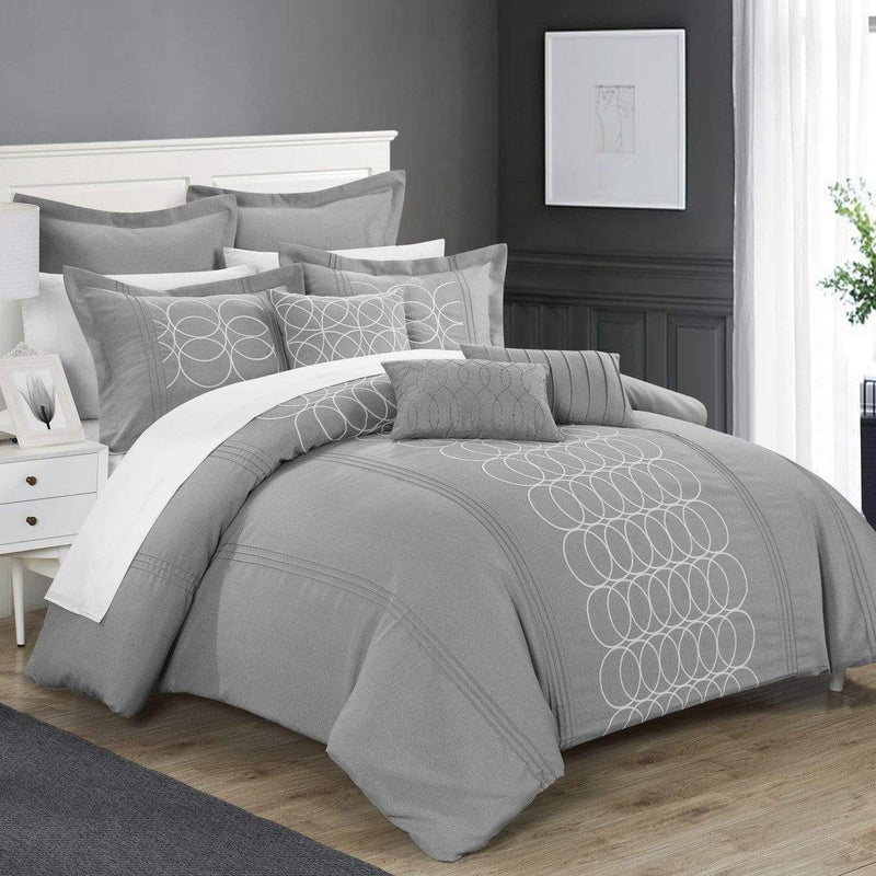 Chic Home Moderna 8 Piece Comforter Set Faux Linen Pleated Geometric Embroidered Bedding-Grey
