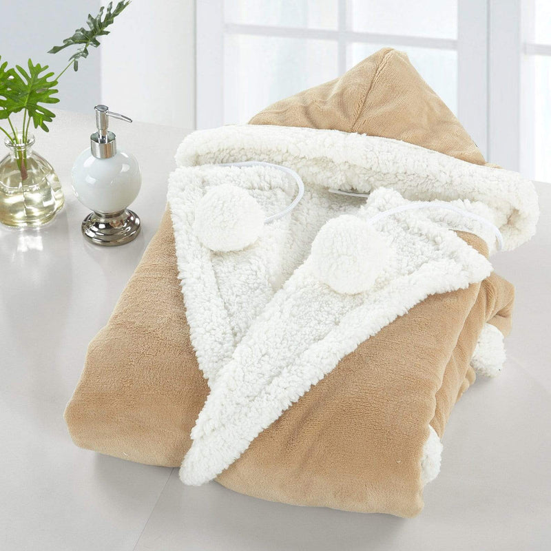 Chic Home Nava Snuggle Hoodie Animal Print Robe Ultra Plush Micromink Sherpa Wearable Blanket Camel-HS3828-CHB