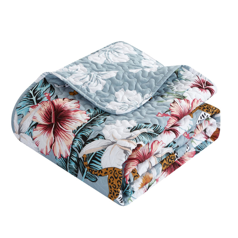 Chic Home Orithia 8 Piece Reversible Quilt Set Tropical Leopard Floral Print Bed In A Bag