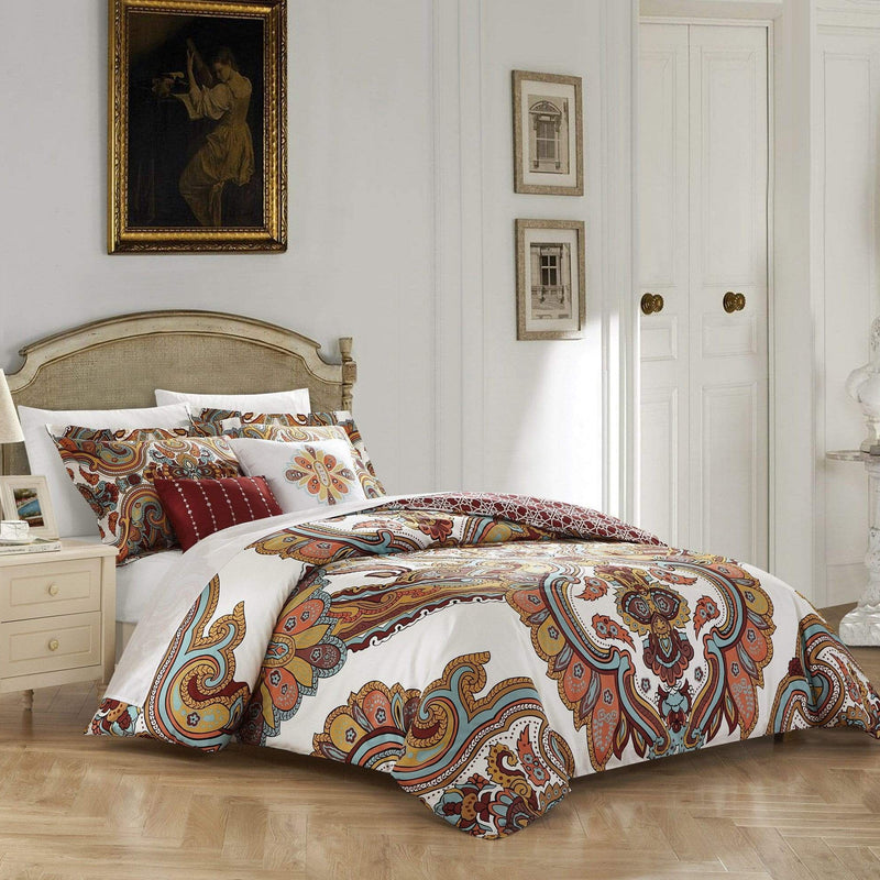 Chic Home Orli 5 Piece Reversible Cotton Comforter Set Bohemian Inspired Print Bedding Beige
