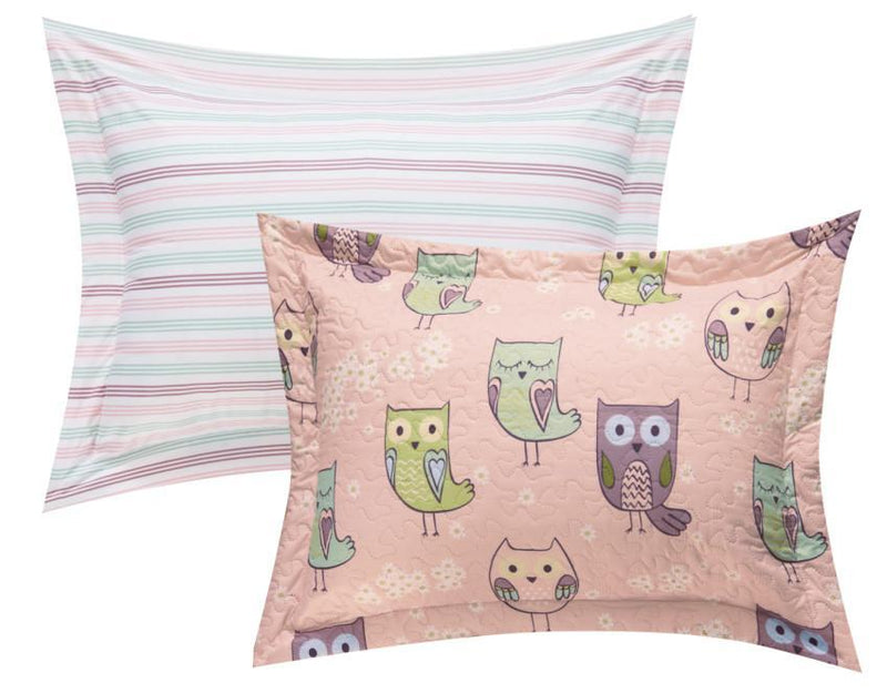 Chic Home Owl Farm 4 Piece Reversible Quilt Set Cute Hoot Owl Friends Youth Design Bed in a Bag-