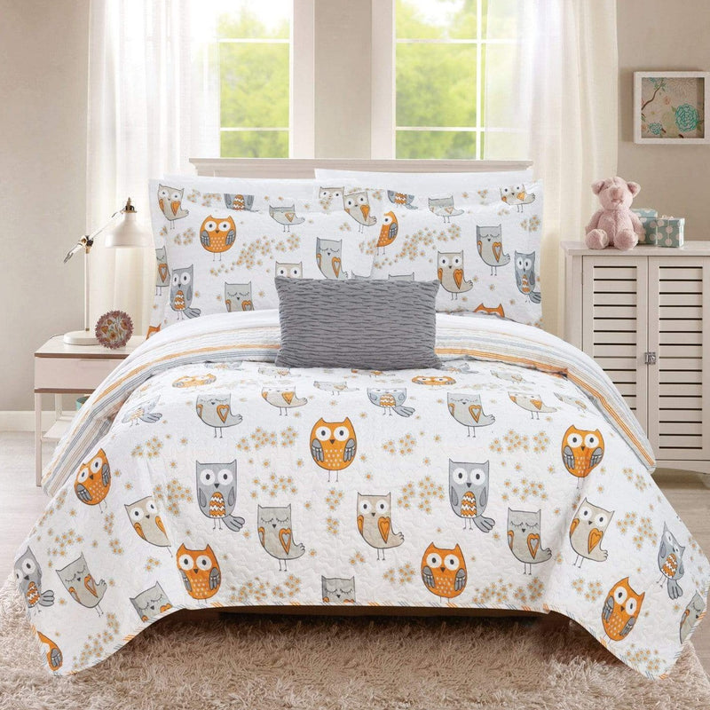 Chic Home Owl Farm Ninox Bubo Strix Asio Whiskered 4 Piece Reversible Quilt Set Cute Hoot Owl Friends Youth Design Bed in a Bag Grey