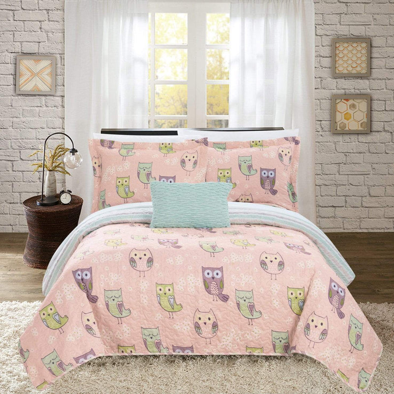 Chic Home Owl Farm Ninox Bubo Strix Asio Whiskered 4 Piece Reversible Quilt Set Cute Hoot Owl Friends Youth Design Bed in a Bag Pink