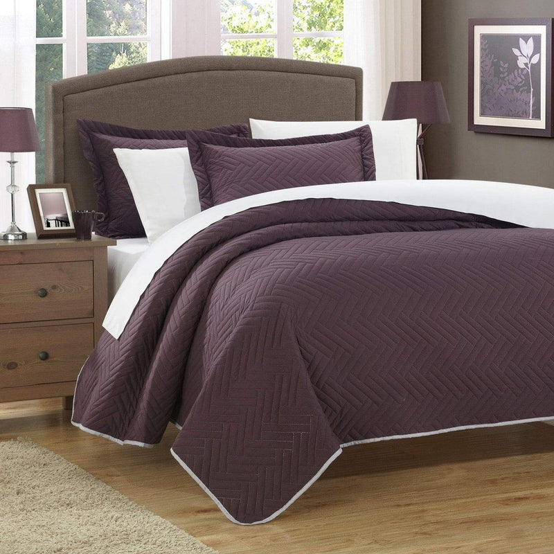 Chic Home Palermo Portobello Pisa Cupertino Mateo Mateo Verona 3 Piece Quilt Cover Set Reversible Two Color Chevron Pattern Bedding Plum