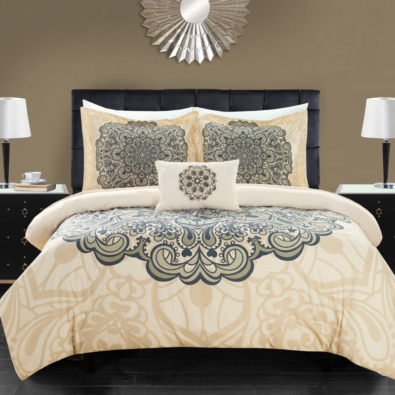 Chic Home Palmer 8 Piece Reversible Comforter Set Boho Inspired Medallion Print Bed in a Bag-Beige