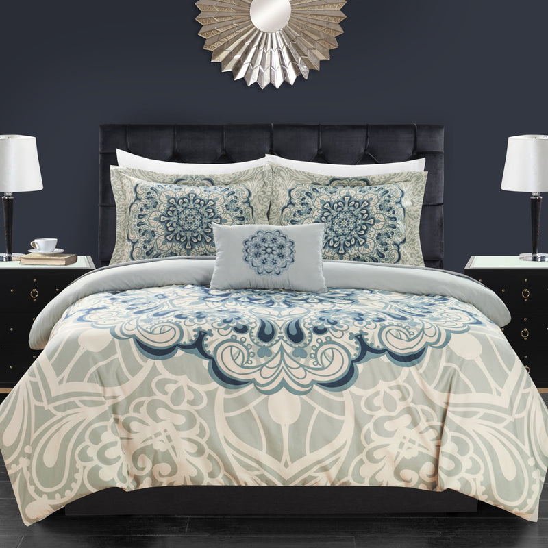 Chic Home Palmer 8 Piece Reversible Comforter Set Boho Inspired Medallion Print Bed in a Bag-Blue
