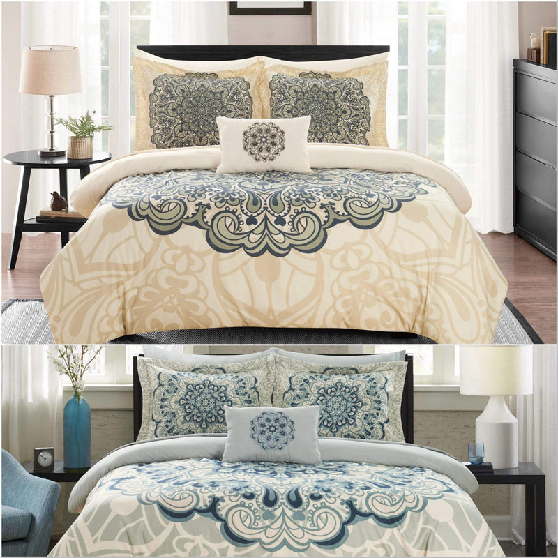 Chic Home Palmer 8 Piece Reversible Comforter Set Boho Inspired Medallion Print Bed in a Bag-
