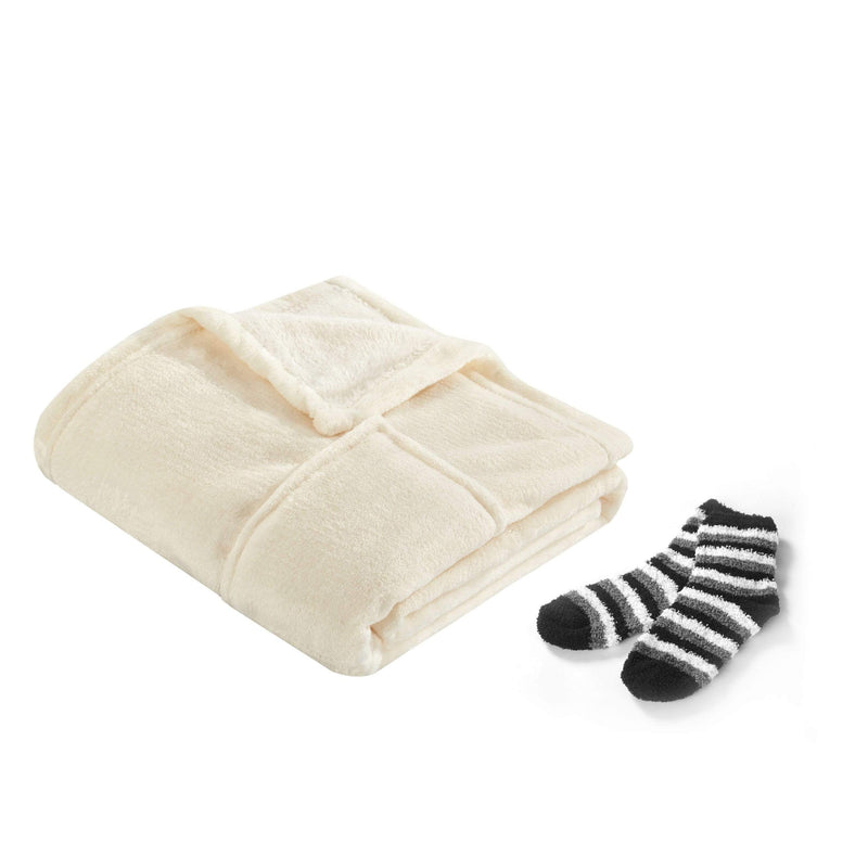 Chic Home Pedra Wrap Snuggle Robe Plush Flannel Fleece 2 Pockets Bonus Pair Striped Socks Beige-BRP18243-CHB