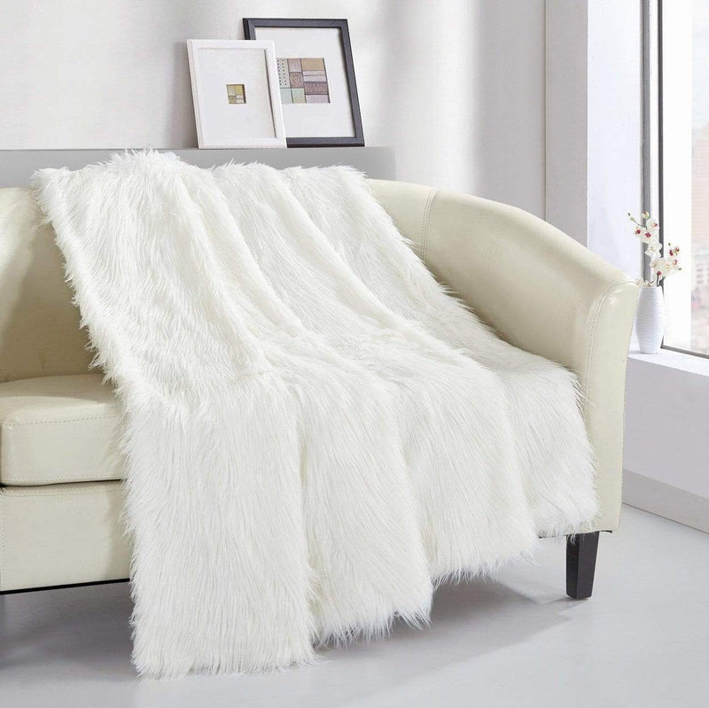 Chic Home Penina Ultra Plush Shaggy Faux Fur Micromink Throw Blanket Beige-TB3535-CHB