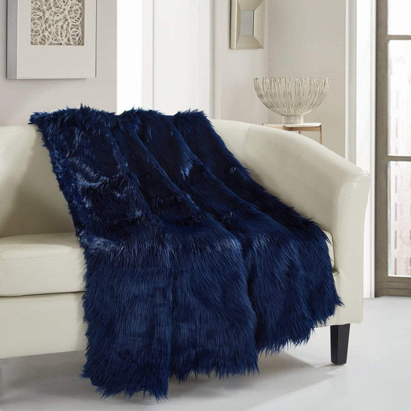 Chic Home Penina Ultra Plush Shaggy Faux Fur Micromink Throw Blanket Navy-TB3537-CHB
