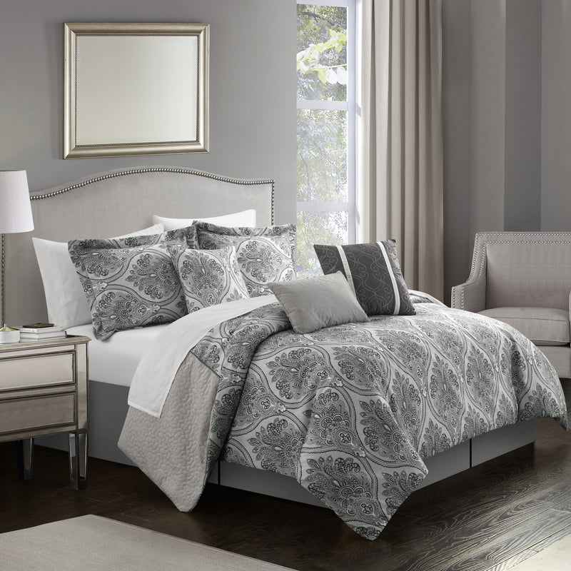 Chic Home Phantogram 11 Piece Comforter Set Reversible Two-Tone Damask Pattern Bed in a Bag-