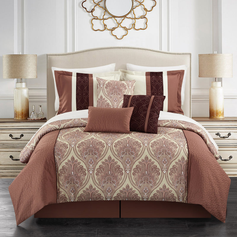 Chic Home Phantogram 11 Piece Comforter Set Reversible Two-Tone Damask Pattern Bed in a Bag-Brick