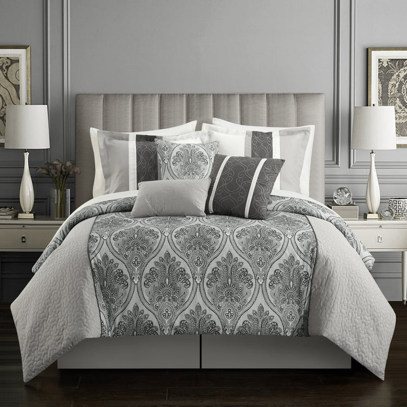 Chic Home Phantogram 11 Piece Comforter Set Reversible Two-Tone Damask Pattern Bed in a Bag-Grey
