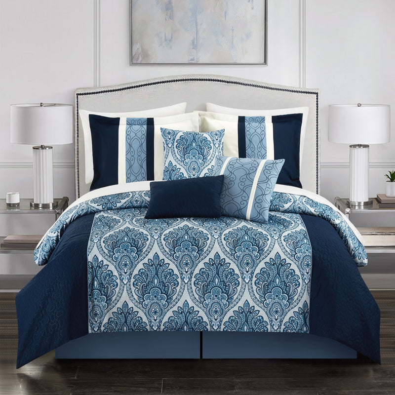 Chic Home Phantogram 11 Piece Comforter Set Reversible Two-Tone Damask Pattern Bed in a Bag-Navy
