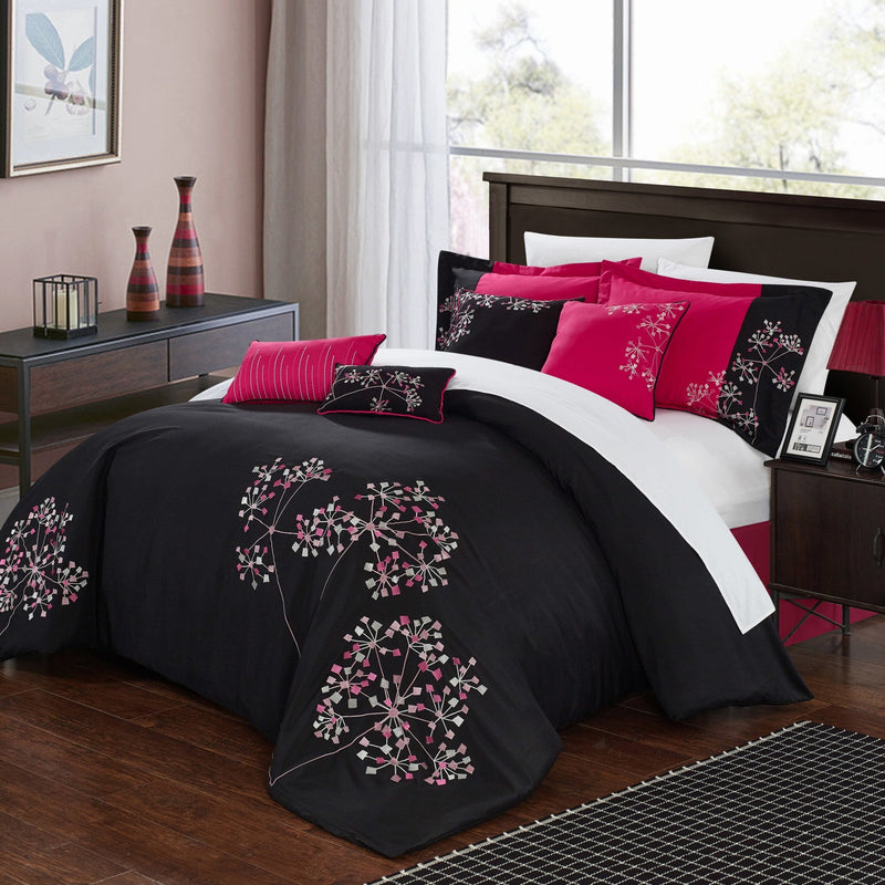Chic Home Pink Floral 12 Piece Comforter Set Embroidered Floral Design Bed in a Bag-Fuchsia