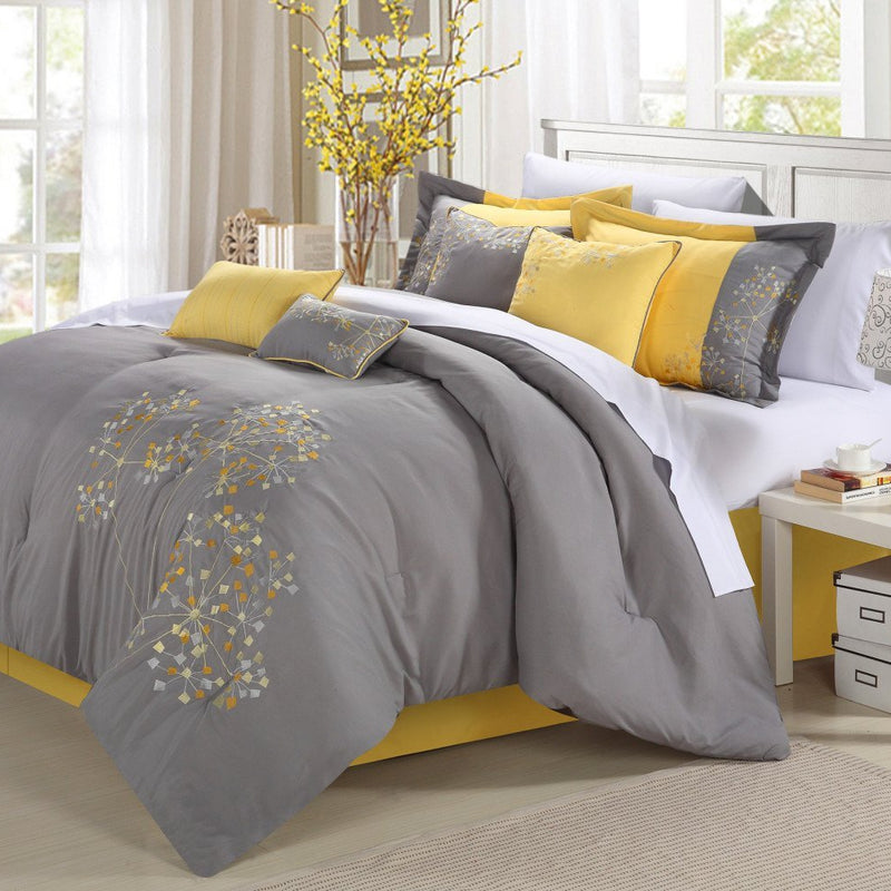 Chic Home Pink Floral 12 Piece Comforter Set Embroidered Floral Design Bed in a Bag-Yellow