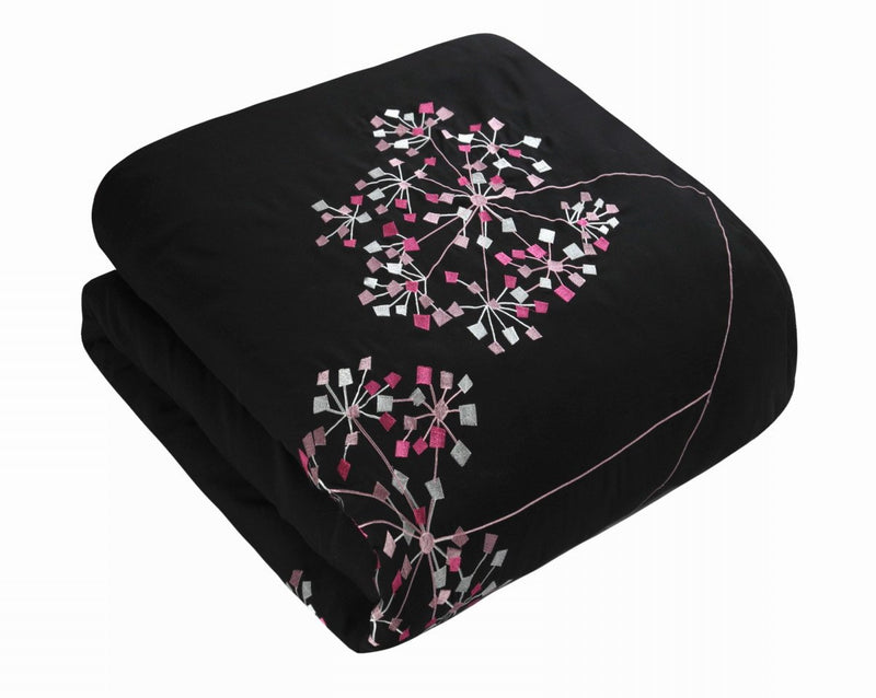 Chic Home Pink Floral 8 Piece Comforter Set Embroidered Floral Design Bedding-