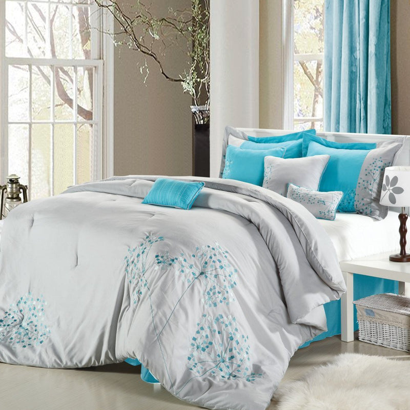 Chic Home Pink Floral 8 Piece Comforter Set Embroidered Floral Design Bedding-Turquoise