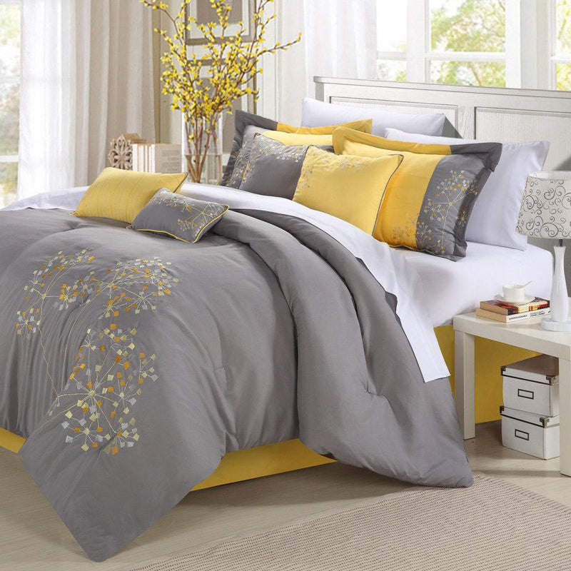 Chic Home Pink Floral 8 Piece Comforter Set Embroidered Floral Design Bedding-Yellow