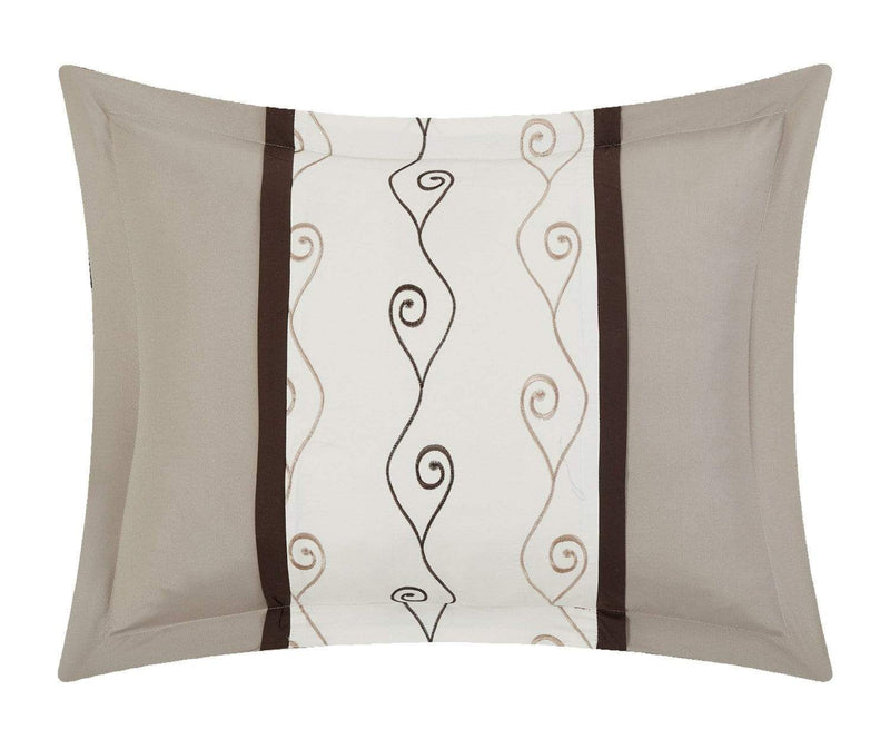 Chic Home Priston 6 Piece Embroidered Comforter Set Color Block Bedding-