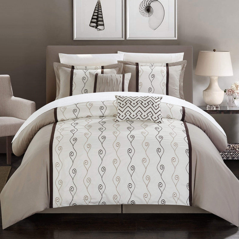 Chic Home Priston 6 Piece Embroidered Comforter Set Color Block Bedding-Beige