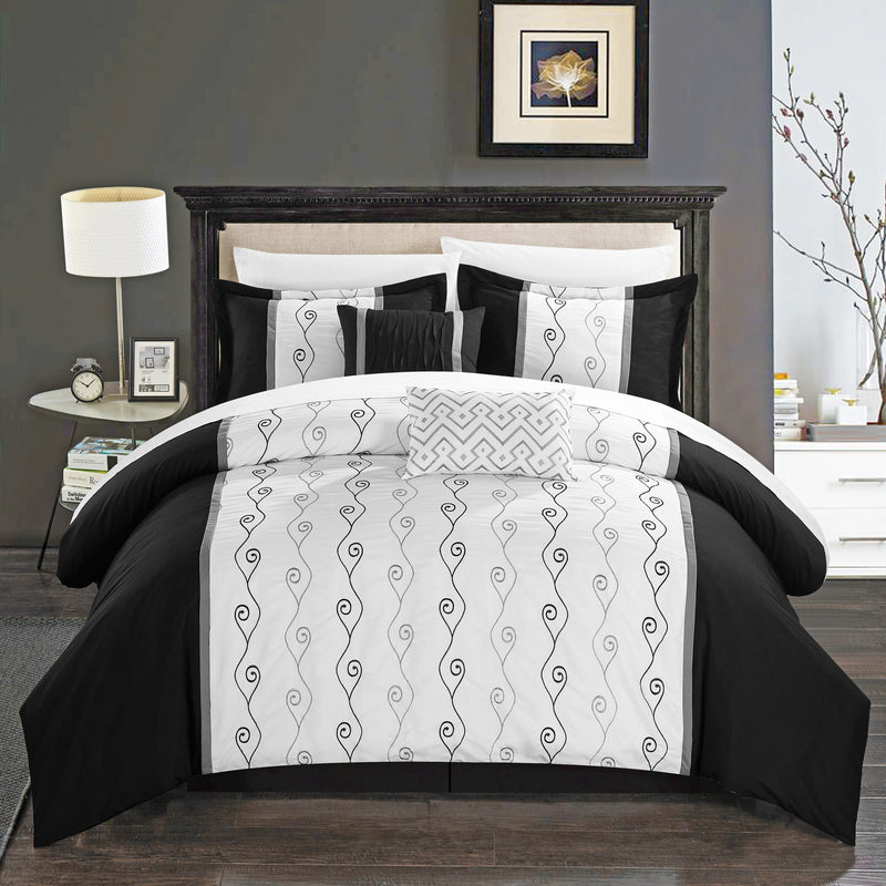 Chic Home Priston 6 Piece Embroidered Comforter Set Color Block Bedding-Black